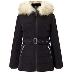 Miss Selfridge Black Belted Puffer Coat ($155) ❤ liked on Polyvore featuring outerwear, coats, jackets, black, puffer coat, coat with belt, puffy coat, belted puffer coats and belted coat