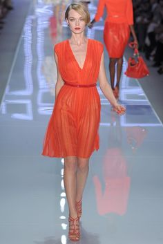 Love the deep melon/coral with scarlet on this dress & belt. Shoes are awesome, too. Christian Dior RTW Spring 2012.