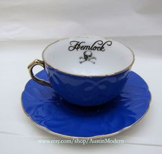 Gothic Hemlock Poison Tea Cup and Saucer Antique by AustinModern, $38.00