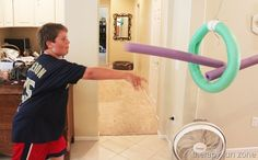 Pool Noodle Javelin Throw - Therapy Fun Zone Throwing pool noodle successfully through the loop. Can be graded up or down by increasing or decreasing the distance away from the loop. Medieval Games, Medieval Party, Medieval Fair, Medieval Knight, Princess Party Games, Princess Birthday, Javelin Throw, Knight Party, Dragon Party