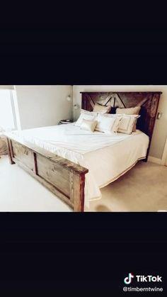 Diy King Bed Frame, King Size Bed Frame, Bed Frame With Headboard, Wooden Bed Frame Diy, Diy Bed Frame Plans, Diy King Size Headboard, Making A Bed Frame, Custom Bed Frame, Wood Headboard