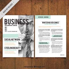 ビジネスマンの画像と会社の雑誌 無料ベクター