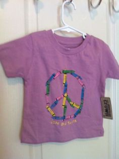 American Crown Girls Pink Crayon Peace Sign 2T Love And Texas NWT