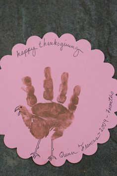 Do it yourself Thanksgiving card (as if you didn't have enough to do) Want to stand out from the pack of Christmas cards? Send a Thanksgiving card! Here is an easy and super-cute version that long-distance Grammie will love. Long-distance Grandpa will say that it looks like baby smeared poo on a piece of paper. Long distance grandpa is classy like that.  DIY after the jump