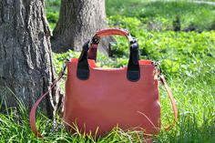 ORANGE LEATHER TOTE, Leather Bag, Leather Handbag, Leather Shoulder Bag, Womens Leather Tote Bag, Womens Leather Bags This Orange Leather Tote,Leather Bag is made of genuine Italian leather also designed to be worn as a shoulder bag . With a very roomy interior this woman bag has a middle