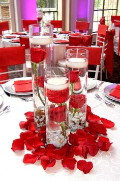 Lukas Wedding. Red Rose Centerpiece with floating candle. By ...