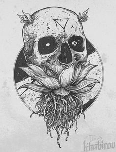 skull coming out of a flower Tattoo Sketches, Tattoo Drawings, Cool Drawings, Art Sketches, Skull Tattoos, Body Art Tattoos, Cute Tattoos, 1 Tattoo, Desenho Tattoo