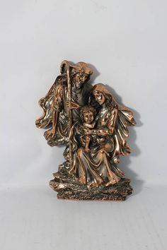 Vintage Holy Family Bronze Copper Finish High Relief Religion