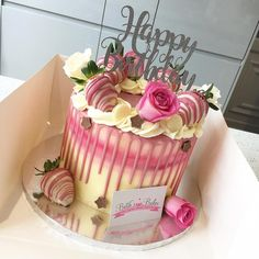 Today's Pink & White Cake Creation 💖 thanks again for our topper 😘 29th Birthday Cakes, Elegant Birthday Cakes, Homemade Birthday Cakes, Adult Birthday Cakes, Beautiful Birthday Cakes, Birthday Cakes For Women, Cake Decorating Designs, Easy Cake Decorating, Birthday Cake Decorating