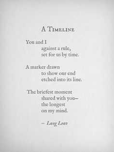 A Timeline #Lang Leav #love #poetry