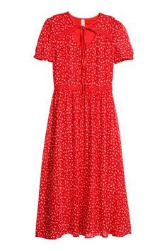 Robe à manches bouffantes - Rouge/fleuri - FEMME | H&M FR