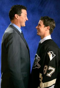 Sidney Crosby and Mario Lemieux...words almost cannot describe the value of this picture...the world's 2 best players...and guess who's team they're for...THE BURGH!