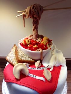 Anti gravity Chinese food cake.