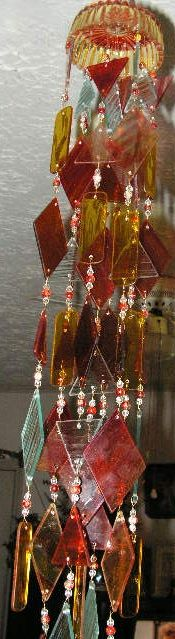 Gold and Red Stained Glass Windchime