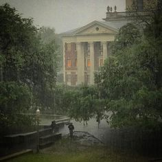 """Baylor University on a rainy April day. // """"There is nothing more wonderful than a rainy day on a college campus. It is on these days where you breathe deep of the sounds and smells of life in these special places... of old books, wooden hallways, and warm laughter."""""""