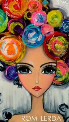 Romi Lerda y Dot Art Painting, Mixed Media Painting, Arte Pop, Art Journal Inspiration, Whimsical Art, Face Art, Doodle Art, Diy Art, Art Girl