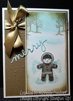 Merry Snow Angel Stampin' Up! Card created by Michelle Zindorf using the Cookie-Cutter Christmas Stamp set