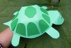 turtle-finger-puppet:  Elementary kids would be able to do this, but it would work well to make finger puppets for storytime, too.