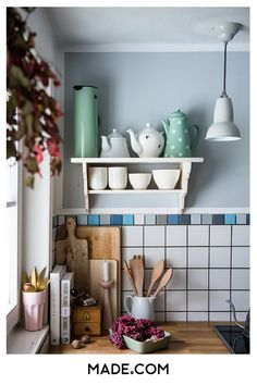 Keeping up appearances: from flat share to family home Cosy Kitchen, Stylish Kitchen, Kitchen Decor, Colorful Interior Design, Colorful Interiors, Duck Egg Blue Wall, Flat Share, Keeping Up Appearances, Kitchen Units