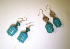 Turquoise magnesite Buddha earrings by TashinkaBeadingHeart