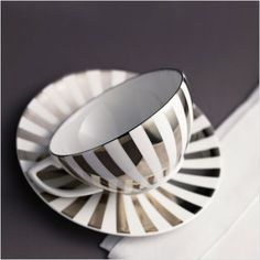 Jasper Conran for Wedgewood platinum stripe dinnerware, I love the contrasting bold reflective pattern on fine bone china, gorgeous!