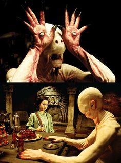 Entonces, cuando el pequeño niño de El laberinto del fauno consigue tentado por la sabrosa Nomz sobre la mesa, el hombre pálido se llena de vida.