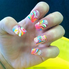 nail designs | Acrylic nail designs with abstract patterns