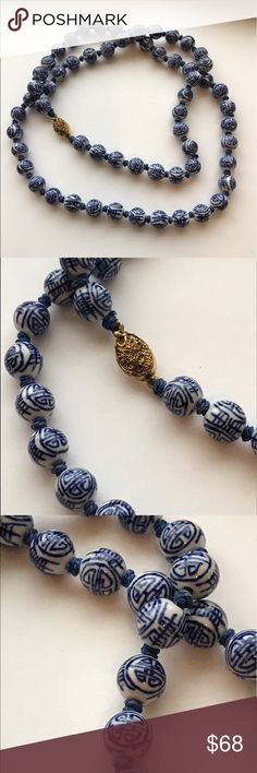 """Vtg Chinese porcelain hand painted bead necklace Stunning. Vintage Chinese porcelain hand painted bead necklace. Hand tied, 26"""" long. This isn't a necklace it's a work of art. Slide clasp, works perfectly. Vintage Jewelry Necklaces"""