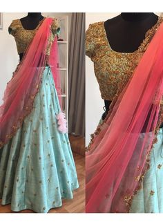 Shop embroidery work raw silk with speedy diamond & resham work designer lehenga choli online.This set is features a sky blue blouse in silk fully embellished with crystal, diamond and resham work.It has matching sky blue lehenga in silk with beautif Raw Silk Lehenga, Half Saree Lehenga, Bridal Lehenga Choli, Ghagra Choli, Blue Lehenga, Lehenga Style, Anarkali, Half Saree Designs, Lehenga Designs