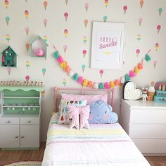 Speckled House ice cream wall decals, Suella bow pillow & ice cream cone money bank, Sonny Angels, tassel garland. Kids room by Inspired by Pearl, Interior Stylist / Petite Spaces / Perth / book a consultation today. Celebrating handmade and local businesses in Perth www.inspiredbypearl.com.au