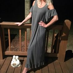 Stunning gray ruffled cold shoulder maxi Solid maxi dress with open shoulders and ruffled sleeves. Unlined. Non-sheer. Lightweight. Dresses Maxi