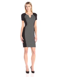 bfb22f4fd2b NYDJ Women s Sonya Grid Print Fitted Sheath Dress    Visit the image link  more details