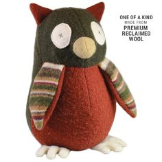 Handmade Owl Stuffed Animal (Premium Reclaimed Wool), Colors Vary