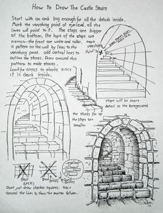 How to Draw Worksheets for The Young Artist: How To Draw Stone Stairs, Lesson and Worksheet. This is so wonderfully understandable for the young artist. Basic Drawing, Drawing Tips, Drawing Sketches, Pencil Drawings, Sketching, 3d Drawings, Drawing For Beginners, Detailed Drawings, Sketch Art