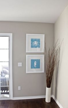Valspar's Magic Spell – Greige. Love this color! The marine photos are odd in the living room tho. Room Paint Colors, Interior Paint Colors, Wall Colors, House Colors, Colours, Interior Painting, Hallway Colors, Valspar Paint Colors, Living Room Paint