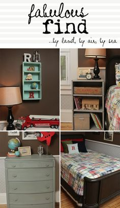 OMG...this is exactly how i decorated Davis's room, the bedding, color of dresser, little globe piggy bank, soda crate, old toys, etc!
