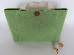 SALE Green Wool Handbag Short Handle by MilkweedAndPoppyseed