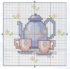 cross stitch chart- cross stitch, tea set, tiny.... what could be better?