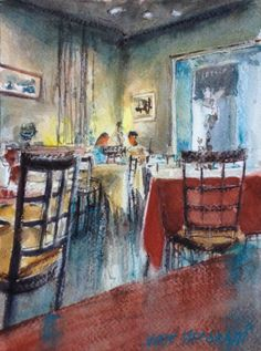 """Dinner For Two Original Watercolor Painting  8"""" X 6"""" NOT A PRINT  