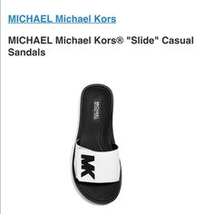 """MK shoes These metallic slide sandals from MICHAEL Michael Kors are as sporty-chic as they get. Pair them with joggers, jeans (and even dresses) for an effortlessly glam touch.  Featured in silver Low heel Open rounded toe Open back Metallic vamp band strap with grip-tape closure Large 3D """"MK"""" applique on top Synthetic upper Imported MICHAEL Michael Kors Shoes Sandals"""