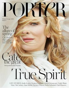 Australian actress Cate Blanchett gets her closeup for the latest cover of Porter Magazine. The blonde star was photographed by Ryan McGinley for the publi