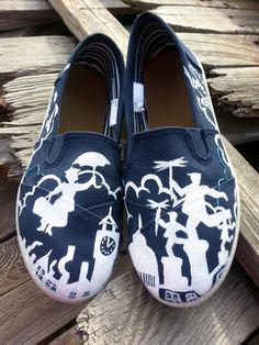 Disney Mary Poppins Handpainted Custom Toms by likemothstoaflame, $110.00