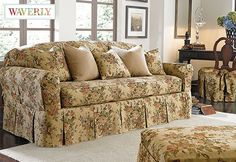Bridgewater Floral by Waverly™ Separate Seat Slipcovers: bringing the rose garden into your living room.