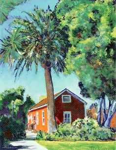 Mason Street School House, acrylic painting on canvas by RD Riccoboni®, one of America's favorite cultural heritage artists.  From The Beacon Artworks Gallery Collection at Fiesta de Reyes in  Old Town San Diego State Historic Park.