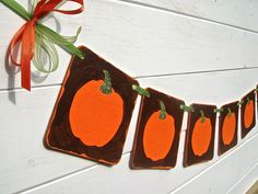 Pumpkin Banner, Halloween Banner, Fall Thanksgiving Decoration, Orange, Autumn, Pumpkin Patch, Happy Halloween, Happy Thanksgiving. $22.00, via Etsy.