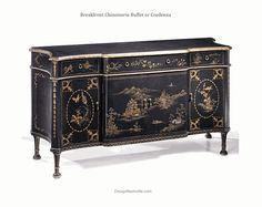 "Breakfront Chinoiserie Buffet or Credenza. hand painted with black background. This piece is gorgeous in any room.  66w 20d 35.25"" high.  Fine quality furniture. DesignNashville.com shipping world wide."