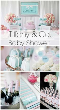 Such a stunning Tiffany Co. baby shower! See more party ideas at CatchMyParty.com. #tiffany #babyshower
