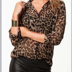 10/25 HOST PICK! Oh my! Leopard print shirt Chic Leopard Long Sleeve Shirt with Turndown Collar...XL but fits like a M/L! Didn't wear because didn't like the way it looked on me! Tops