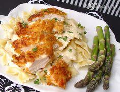 Crispy Chicken with Creamy Italian Sauce and Bowtie Pasta