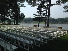 Outdoor Wedding with White Wood Garden Chairs! Find out more at redirental.com